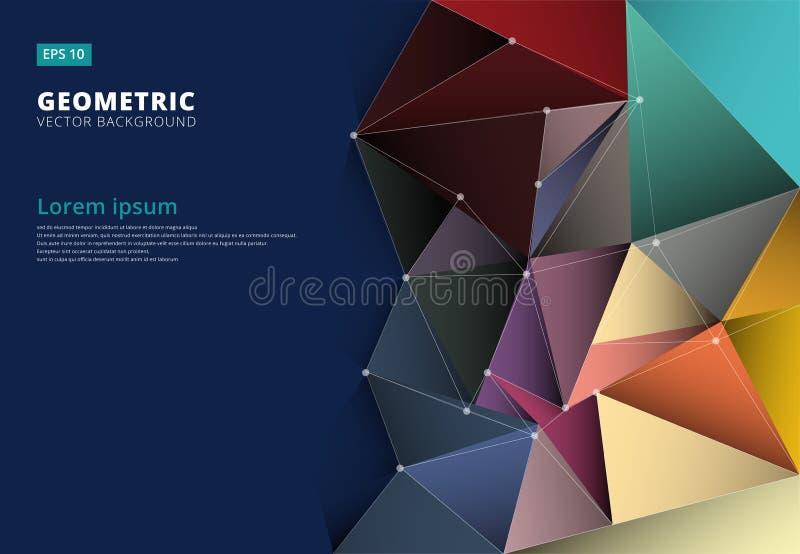 Abstrakta 3D kolorowy trójbok geometryczny, niski poligonalny, wzór royalty ilustracja