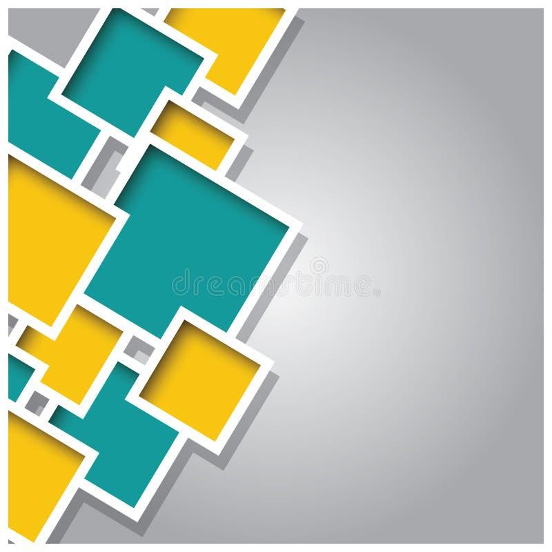 Abstrakta 3d kwadrata tło, kolorowe płytki, geometryczne ilustracja wektor
