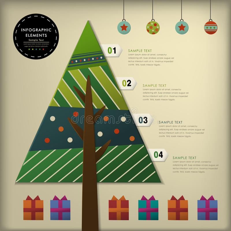 Abstrakta 3d papieru choinki infographics ilustracji