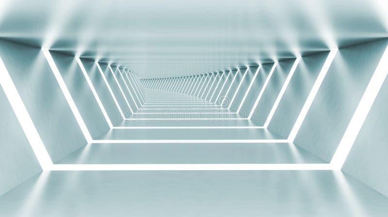 Abstrakta 3d tömmer upplyst ljus - blå skinande vriden korridor royaltyfri illustrationer