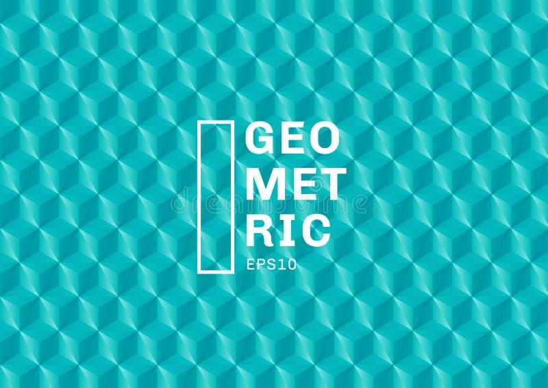 Abstrakta 3D zieleni turkusowi wieloboki deseniują tło i teksturę Geometryczni trójboki kształtują błękitnego kolor Ty mo?esz u?y royalty ilustracja