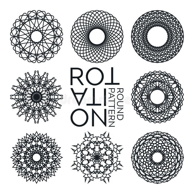 Abstrakta dekorativa monokromma runda beståndsdelar Original- vektoruppsättning av åtta cirkelobjekt på vit bakgrund royaltyfri illustrationer
