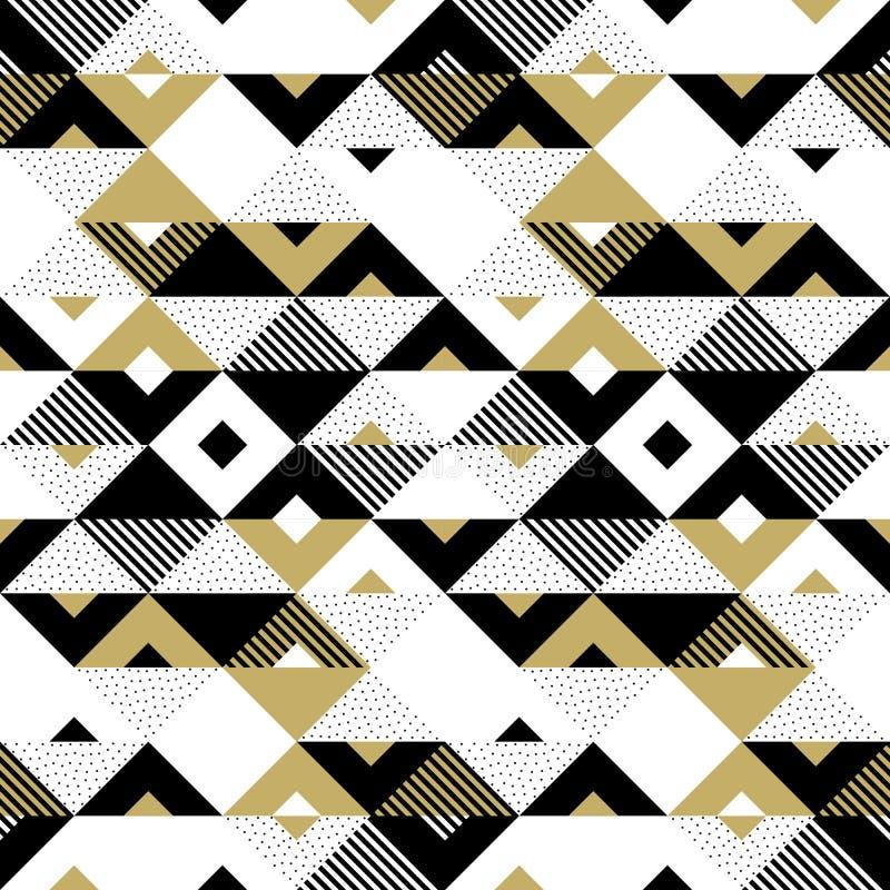 Abstrakta deseniowego złotego geometrycznego ornamentu trójboka kwadrata wektoru złocisty tło ilustracji