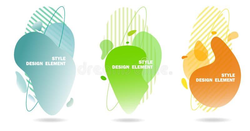 Abstrakta designbeståndsdelar för rengöringsdukdiagram och platser, band, lutningar och abstrakt begreppdroppar Uppsättning av gr vektor illustrationer