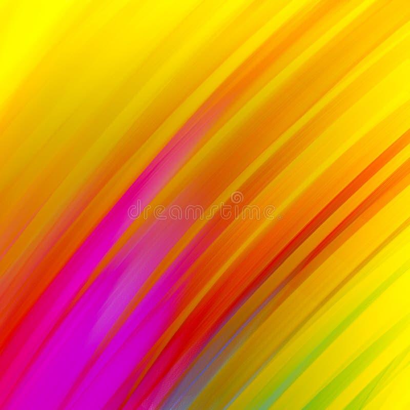 Abstrakta diagonala band i djärv guld- purpurfärgat rött blått grönt och rosa på gul bakgrund, dramatiska glödande färgrika linje vektor illustrationer