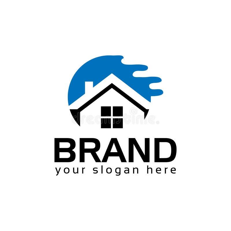 Abstrakta domowy logo - błękita dom Loga wektoru ilustracja ilustracja wektor