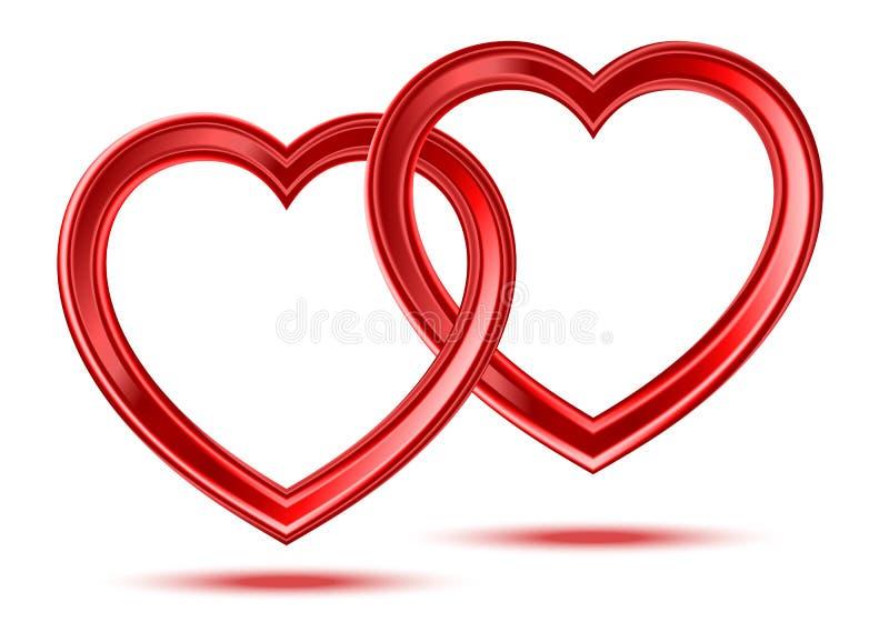 Abstrakta dwa serc błyszczący kształty ilustracja wektor