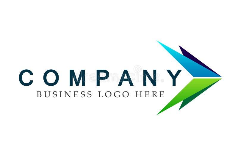 Abstrakta dwa strzałkowaci kierunki skupiali się loga, na Korporacyjnym Inwestują Biznesowego loga projekt Pieniężna inwestycja n ilustracji