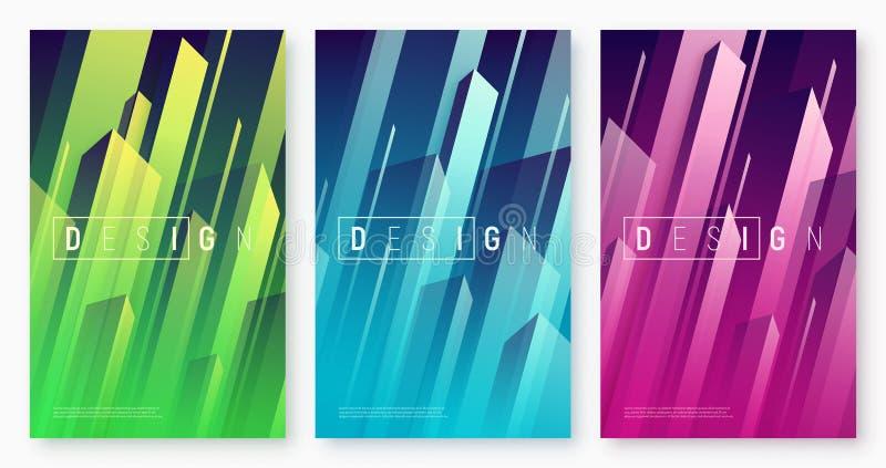 Abstrakta dynamiska geometriska bakgrunder för vektor, färgrikt minsta stock illustrationer