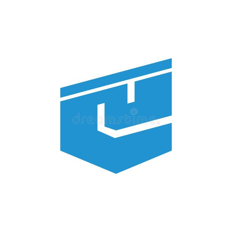 Abstrakta e logo listowy prosty geometryczny wektor ilustracja wektor