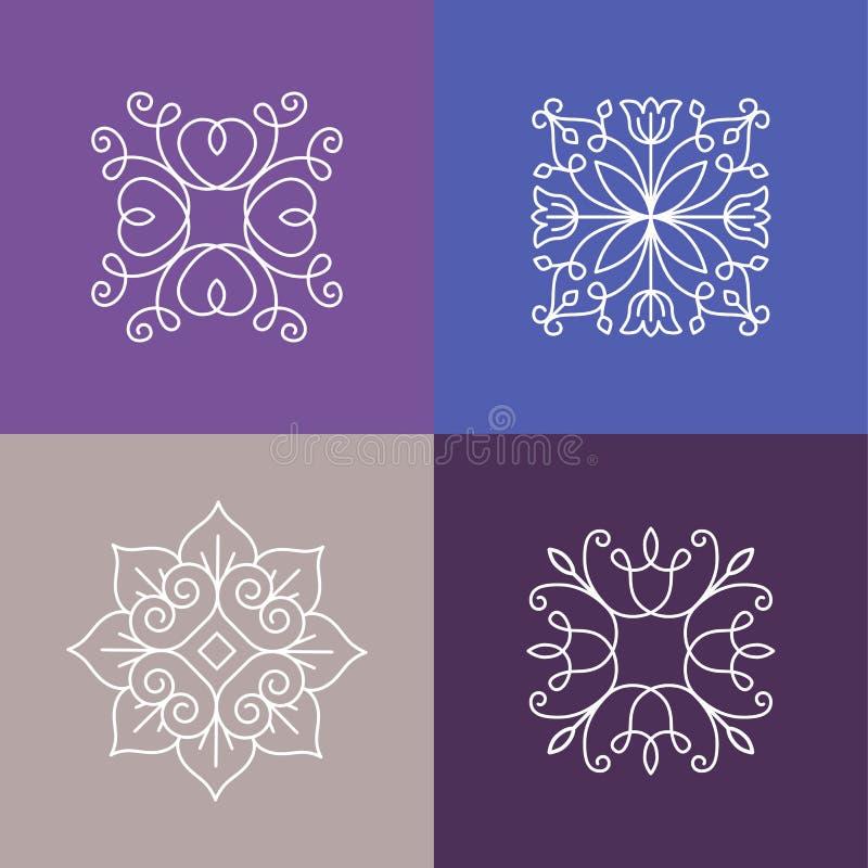 Abstrakta emblem för vektor - översiktsmonogram royaltyfri illustrationer