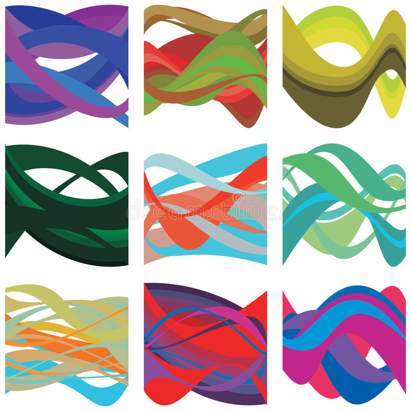 Abstrakta färgrika Brain Waves vektor illustrationer