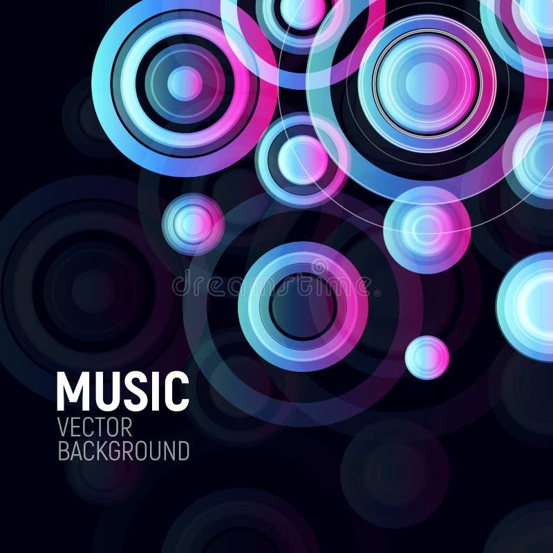 Abstrakta färgrika cirklar på svart bakgrund Musikalisk partidesignaffisch Elektronisk beståndsdel för design för diskoklubbarekl royaltyfri illustrationer
