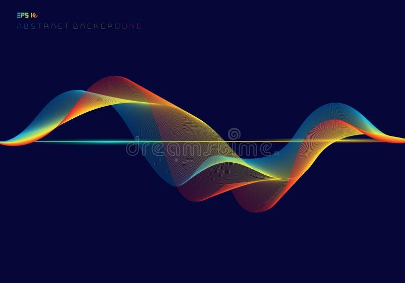 Abstrakta färgrika digitala utjämnarevåglinjer på mörkt - blått bakgrundsteknologibegrepp royaltyfri illustrationer