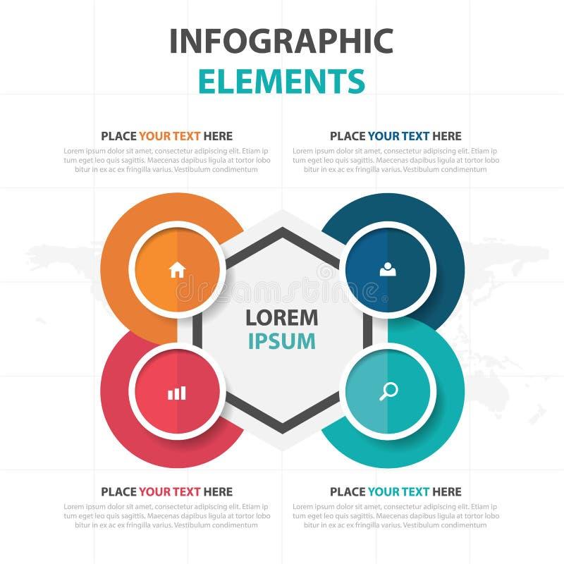 Abstrakta färgrika Infographics för timeline för cirkelsexhörningsaffär beståndsdelar, illustration för vektor för design för pre vektor illustrationer