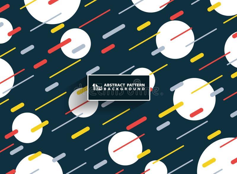 Abstrakta färgrika linjer bakgrund för band för Memphis geometriska livliga färgmodell med att dekorera för cirkelvit Du kan anvä royaltyfri illustrationer