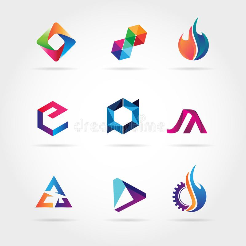 Abstrakta färgrika Logo Set Sign Symbol Icon stock illustrationer