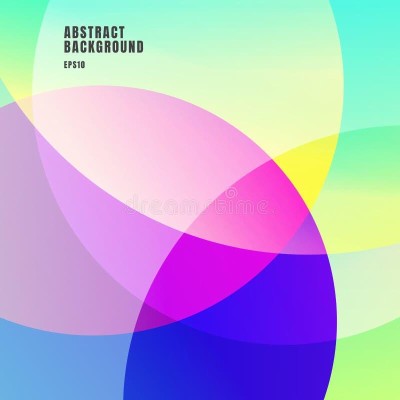 Abstrakta färgrika lutningar färgar överlappande cirkelbakgrund Idérika ljusa färger för geometrisk design stock illustrationer