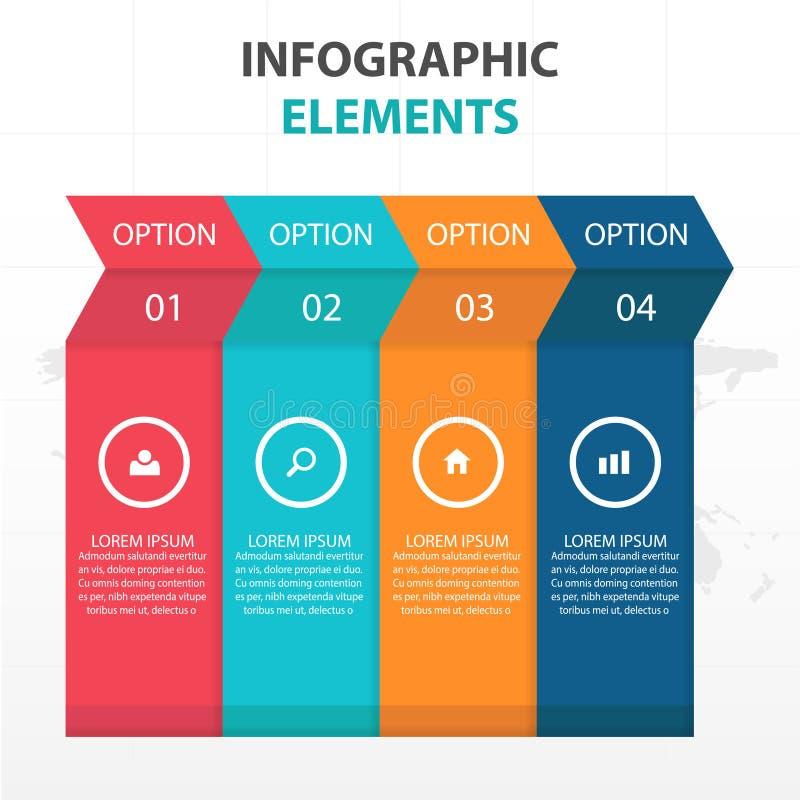 Abstrakta färgrika pilaffärsInfographics beståndsdelar, illustration för vektor för design för presentationsmalllägenhet för reng royaltyfri illustrationer