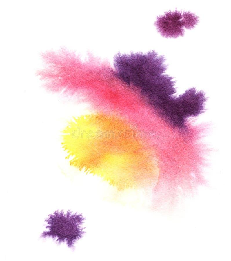 Abstrakta färgrika purpurfärgade, rosa gula lutningfläckar Hand som dras med vattenfärgen på en våt texturerad pappers- illustrat royaltyfria bilder
