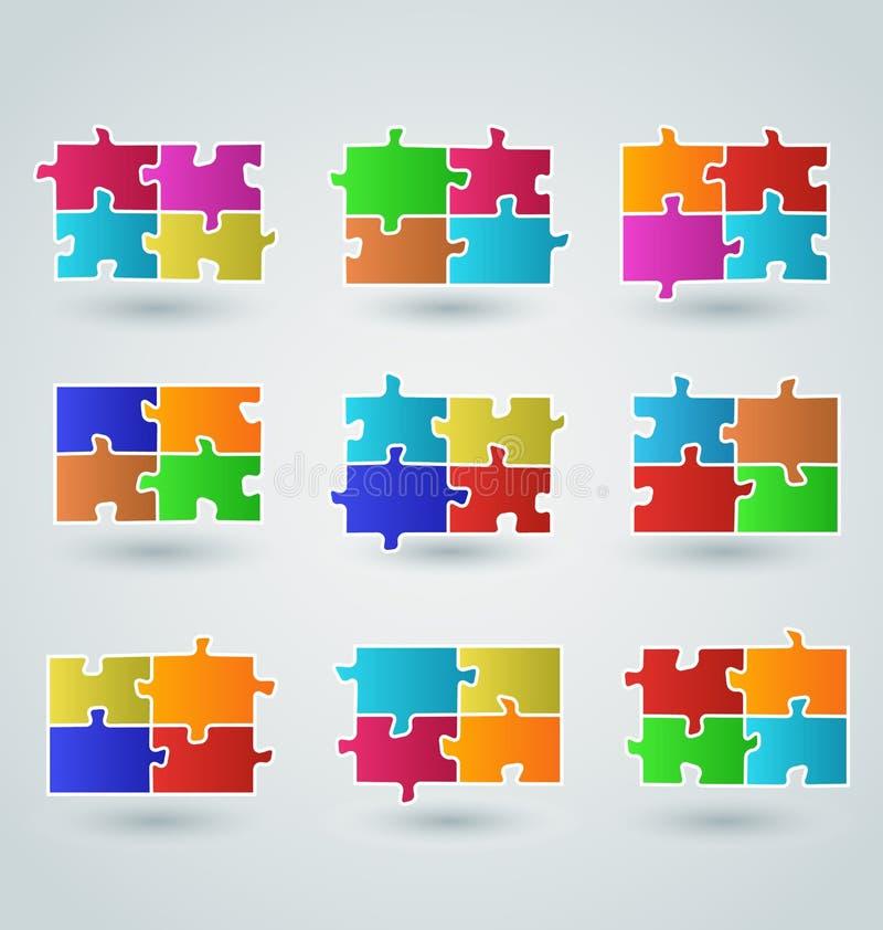 Abstrakta färgrika pusselstycken för samling vektor illustrationer