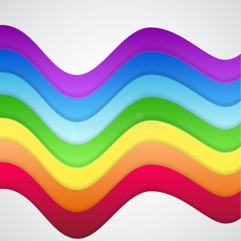 Abstrakta färgrika regnbågevågor royaltyfri illustrationer