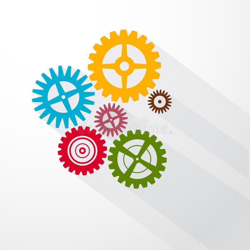 Abstrakta färgrika vektorkuggar - kugghjul stock illustrationer