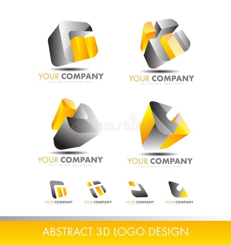 Abstrakta för logokub för uppsättning 3d grå färger för guling för symbol vektor illustrationer