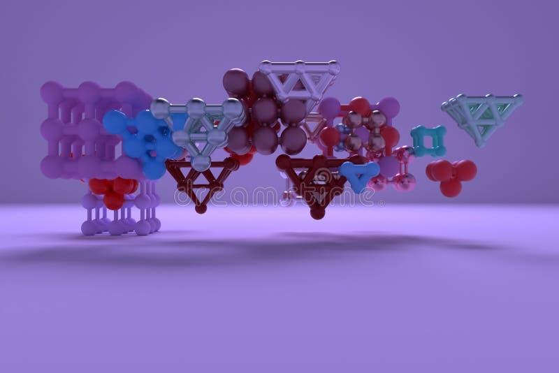 Abstrakta faktiska geometriska, för molekylstil concepture inter--låste fyrkant eller pyramider Tapet för grafisk design 3d framf vektor illustrationer