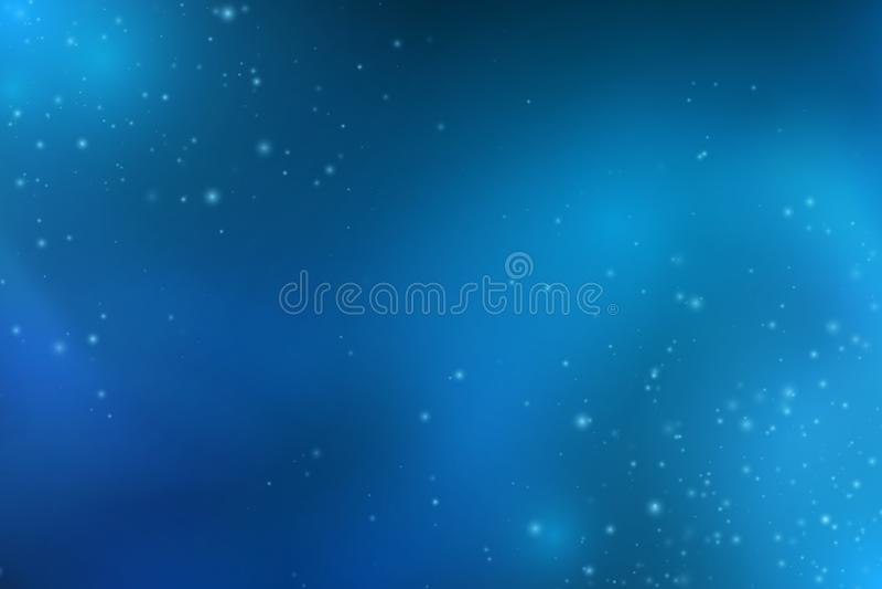 Abstrakta fallande blåa ljus Magiblåttdamm och ilskna blickar starry sky Glödande bakgrund Blåa glödande moln av rök Att glo bok royaltyfri illustrationer