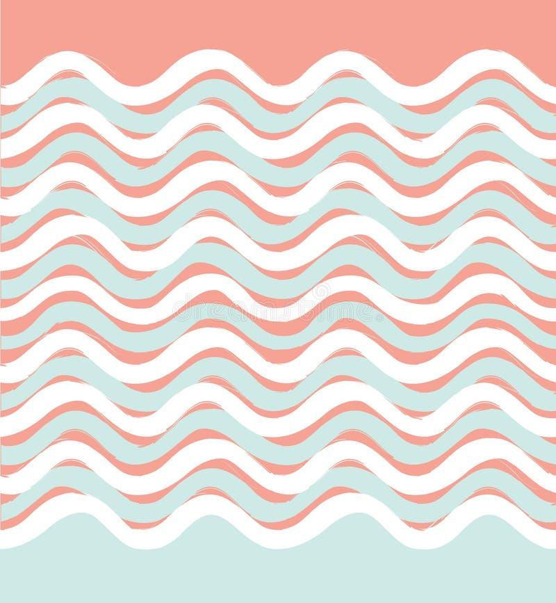 Abstrakta falowy bezszwowy wzór Falisty geometryczny tło ilustracji