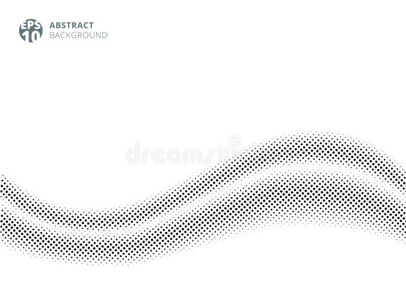 Abstrakta falowy jedwabniczy atłas na białym tła halftone stylu dla projekta Kropka wz?r royalty ilustracja