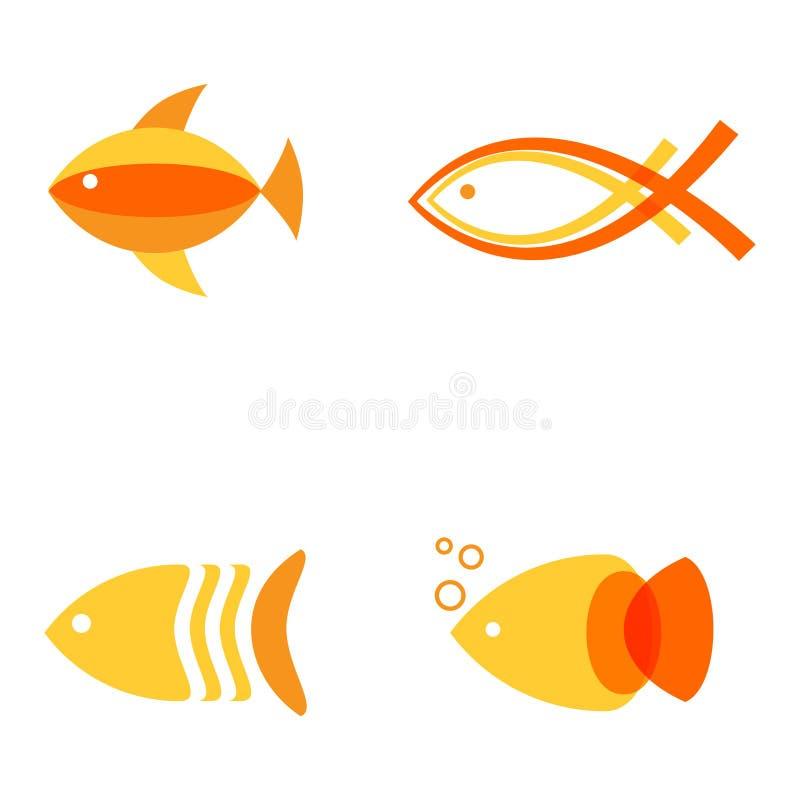 Abstrakta fisklogoer ställer in för havs- restaurang, eller fisken shoppar royaltyfri illustrationer