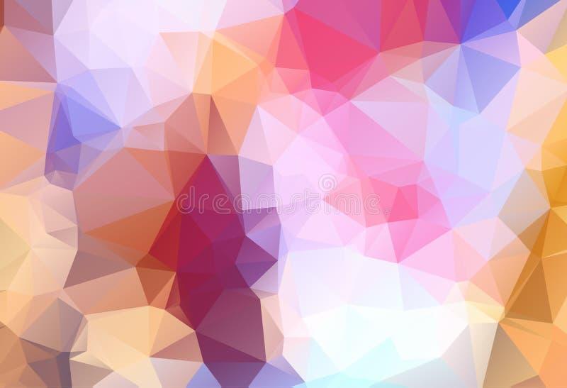 Abstrakta flerfärgade blått, guling, orange geometrisk rufsad till triangulär låg poly bakgrund för diagram för stillutningillust vektor illustrationer