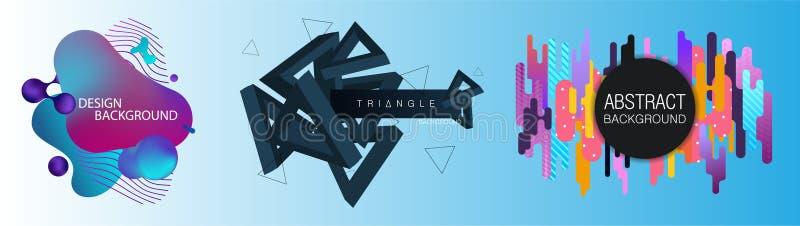 Abstrakta fluid idérika mallar, kort, färgräkningar ställde in vektor illustrationer