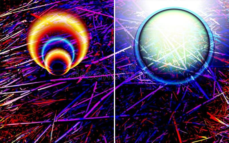Abstrakta futuristiska baner, bakgrundsmallar med moderna ljusa effekter och vetenskaplig modell, textur stock illustrationer