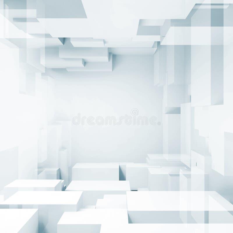 Abstrakta fyrkantiga digitala kuber för bakgrund 3d royaltyfri illustrationer