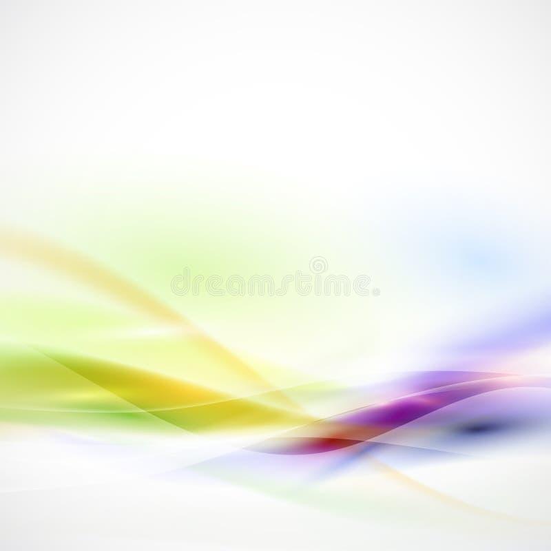 Abstrakta gładki kolorowy przepływ na białym tle, wektor ilustracji