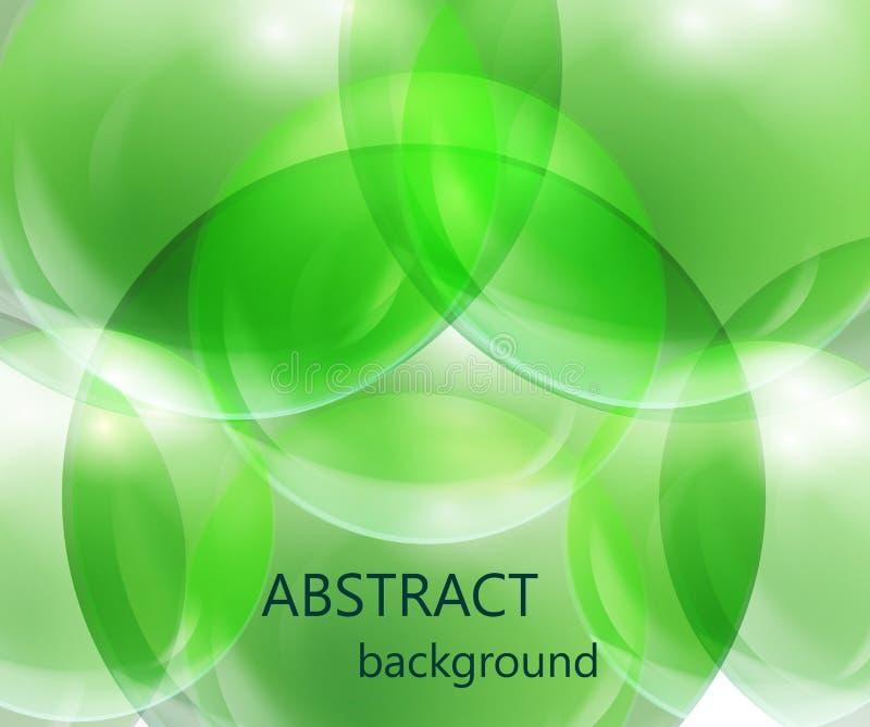 Abstrakta genomskinliga bollar på en grön bakgrund stock illustrationer