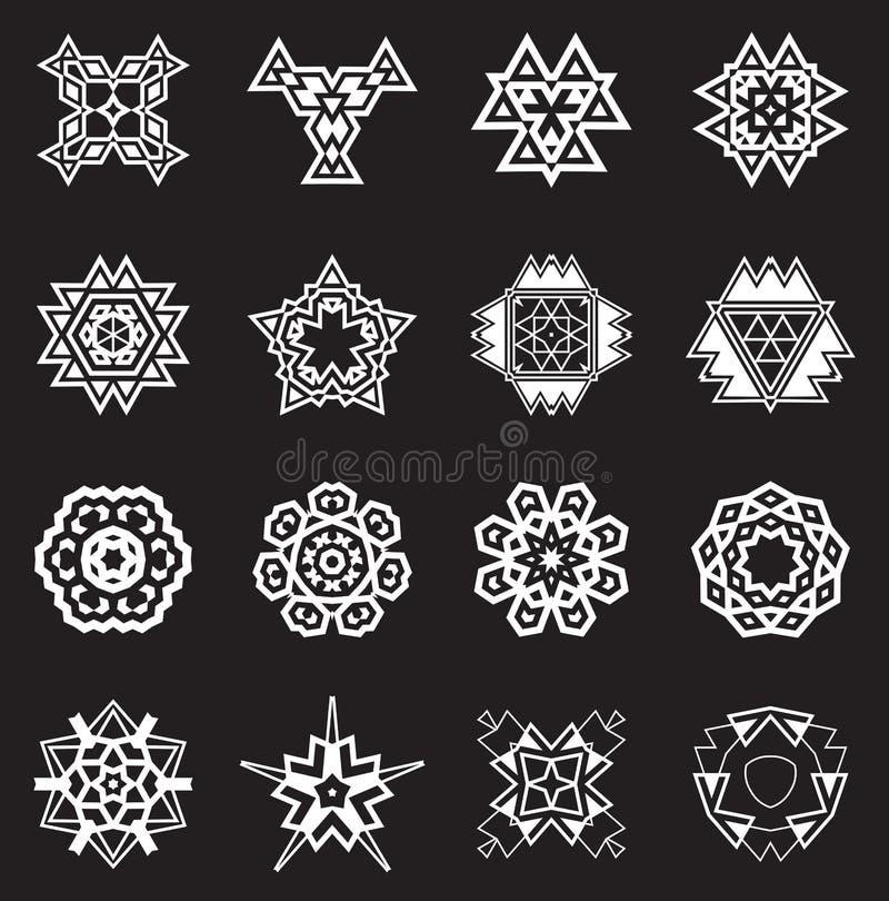 Abstrakta geometriska beståndsdelar, etnisk Aztec för modell eller Maya Vector royaltyfri illustrationer