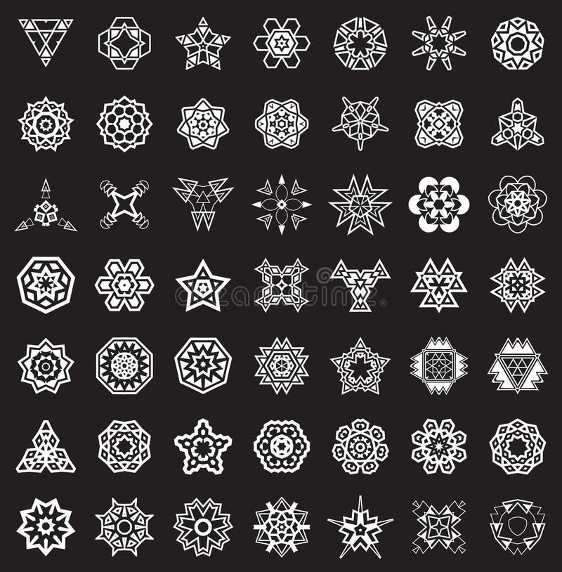 Abstrakta geometriska beståndsdelar, etnisk Aztec för modell eller Maya Vector vektor illustrationer