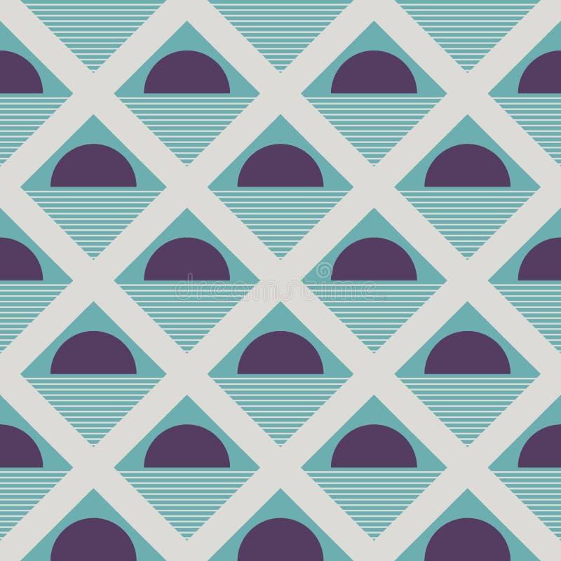 Abstrakta geometriska etniska halvarundamodeller och trianglar Orientalisk sömlös modell i turkosfärg vektor illustrationer