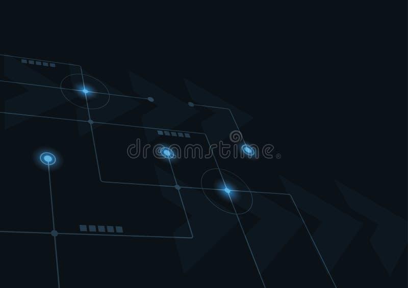 Abstrakta geometriska f?rbinder linjer och prickar Enkel teknologidiagrambakgrund N?tverk och anslutning f?r illustrationvektorde stock illustrationer