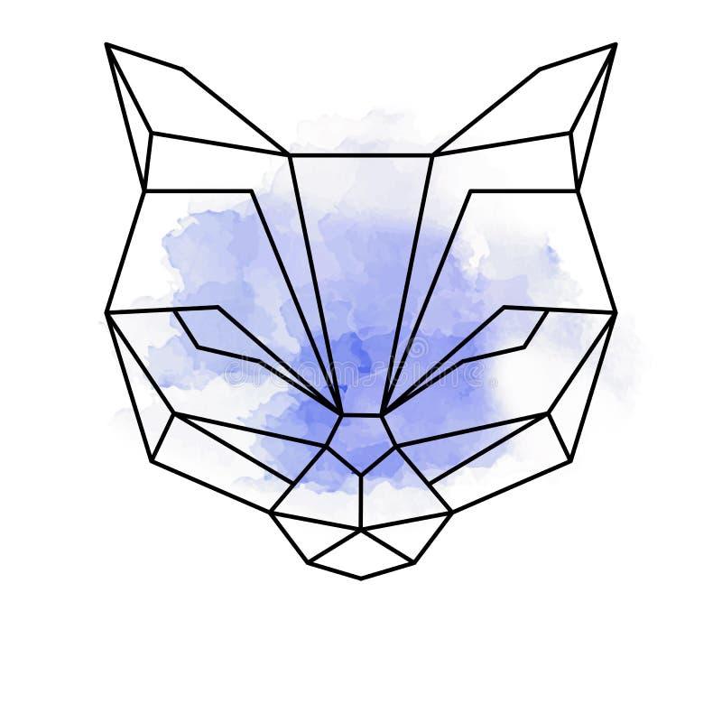 Abstrakta geometriska former för tiger eller för katt med vattenfärgen royaltyfri illustrationer