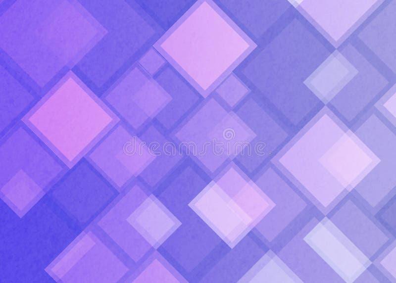 Abstrakta geometriska fyrkanter och rektanglar i purpurfärgad och blå bakgrund stock illustrationer