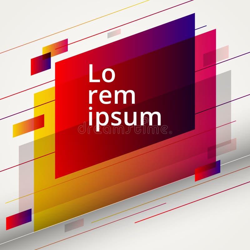 Abstrakta geometriska röda och gula färgdesignbeståndsdelar på vit bakgrund vektor illustrationer
