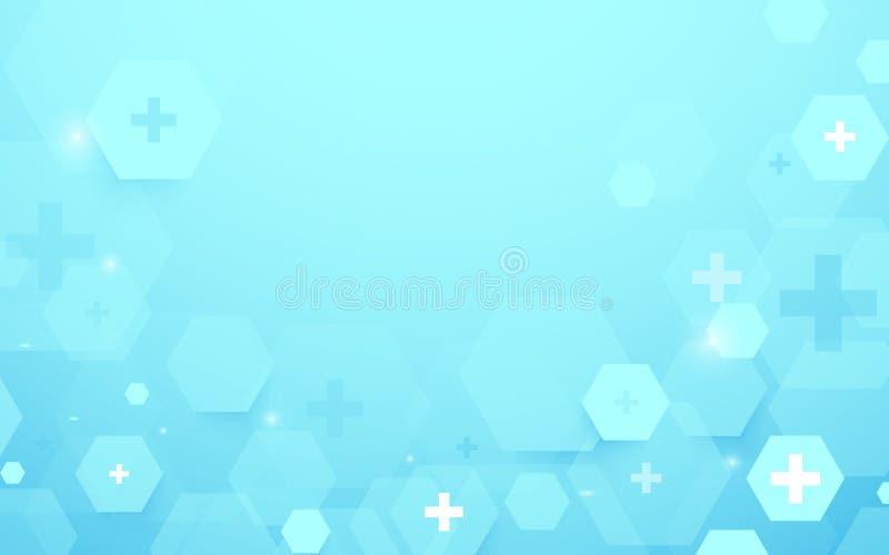 Abstrakta geometriska sexhörningar formar medicin- och vetenskapsbegreppsbakgrund medicinska symboler royaltyfri illustrationer