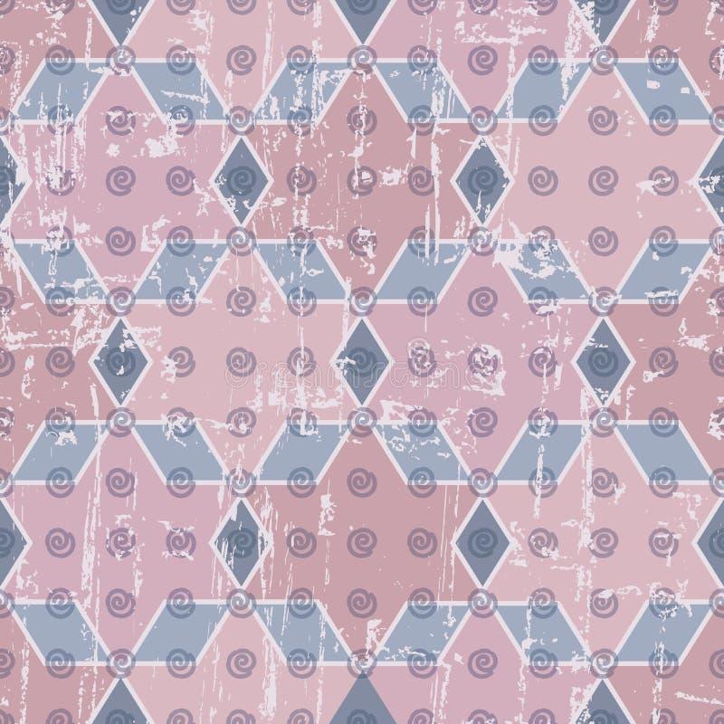 Abstrakta geometriska stjärnor, diamanter, spiral och för repetitionmodell för sexhörningar sömlös bakgrund med en sliten tappnin vektor illustrationer