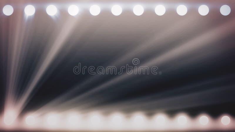 Abstrakta glänsande strålkastare med vita strålar av ljus, monokrom bakgrund, sömlös ögla djur Glödande soffits vektor illustrationer