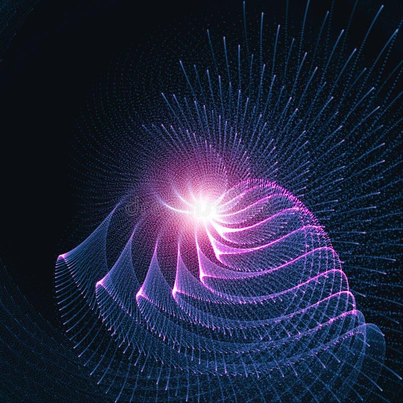 Abstrakta glödande krökta linjer bakgrund Strålar av ljust flöda i rund rörelse stock illustrationer